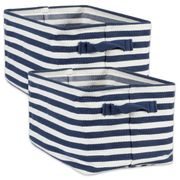 DII Herringbone Woven Cotton  Laundry Bin Striped French Blue  Rectangular Large 16x12.5x9.5 SET/2