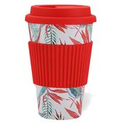 Eco-Friendly Bamboo Fiber Travel Cup  Red Floral