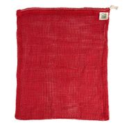 Ecobags Organic Cotton Mesh Drawstring Reusable Bag 12 in. x 15 in. Color: Chili