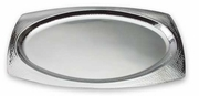 Elegance  Hammered Rim Stainless Steel Oval Serving Tray