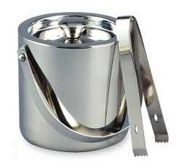 Elegance Hammered Stainless Steel Large Ice Bucket with Tongs 3QT