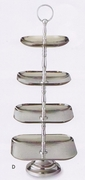 Elegance  Serving Stand 3-Tier Square Hammered Stainless Steel