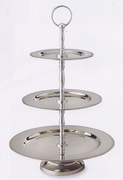Elegance  Serving Trays 3-Tier Beaded Edge Stainless Steel