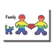 Gay Pride Refrigerator Magnet Gay Family with Cat