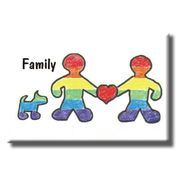 Gay Pride Refrigerator Magnet Gay Family with Dog
