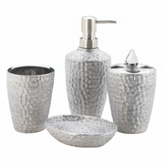 Hammered Silver Texture Porcelain Bath Accessories Set