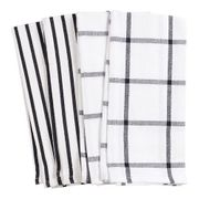 HIC Pantry Kitchen Towel, 20 in. x 30 in.  Set of 4   BLACK