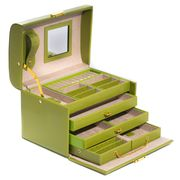 Jewelry Case 3 Drawer Travel Style Leather  Lime