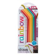 Joie Rainbow Silicone Straws with Cleaning Brush, Set of 6