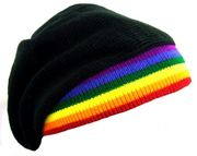 Knitted Black Beret with Rainbow Brim