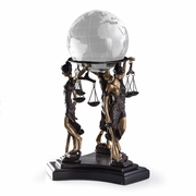 Lady Justice Ball Holder on Marble  With Ball