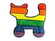 Lapel Pin Sparkle Rainbow Cat