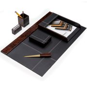 """Leather and """"Burl Wood """" Desk Set 6pc."""