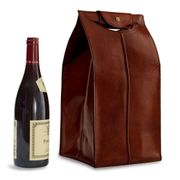 Leather WIne Bag Brown 4 Bottle