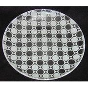 "Luminarc Jazzi Decorated  White Dots on Clear Dessert Plates 8"" 6pc."