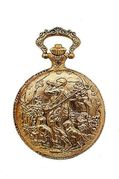 Medana Railroad Style Pocket Watch with Hunter with His Dogs Motif on Cover
