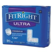 """Medline FitRight Ultra Protective Adult Underwear, Large, 40"""" to 56"""" Waist, 20/Pack"""