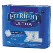 """Medline FitRight Ultra Protective Adult Underwear, X-Large, 56"""" to 68"""" Waist, 20/Pack"""