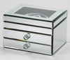 Mirrored Jewelry Box Fortuna  Lift Top  2 Drawer