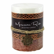 Moroccan Rose Pillar Candle 3 x 4