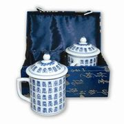 Tea Mugs with Lids in Silk Gift Box  2 Mugs/Set  Longevity Symbols