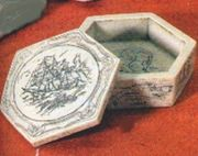 "Nautical Theme  Trinket Box  Hexagonal Shape  ""Scrimshaw"" Style"