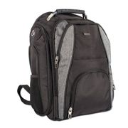 "Stebco Matt Polyester BackPack, 13"" x 4"" x 18"", Black/Gray"
