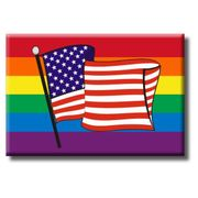 Gay Pride Refrigerator Magnet Rainbow and USA FLAG