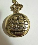 Railroad Style Pocket Watch with USS Constitution on Cover