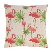Flamingo with Palm Fronds Decorative Throw Pillow