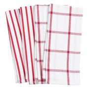 HIC Pantry Kitchen Towel,  20 in. x 30 in. Set of 4  RED