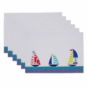 Placemats Embroidered Sallboats  6/set  13 x 19