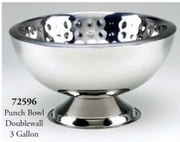 Punch Bowl, Hammered Stainless Steel 3 Gallon