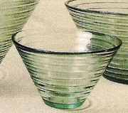 Ridged Green Glass Bowl  Small 6 x 3.5in