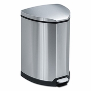Safco Step-On Waste Receptacle, Triangular, Stainless Steel, 4 gal, Chrome/Black