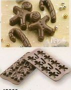 Silicone Easy Chocolate Mold Gingerbread Man and Candy Cane Shape