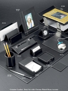 Stitched Black Leather Complete Desk Accessory  Set