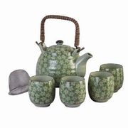 Tea Set Green Floral Daisy 5pc