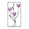 Three Candle Wall Sconce Magenta Flowers