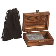 Whiskey Stones & Pouch in Wood Box. (9 stones)