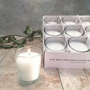 White Votives in Glass Holder  9/box