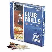 "Wooden Frill Toothpicks   4"" Club Length  (1000pc)"