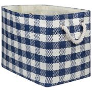 Woven Paper Bin Large Rectangular Navy Checked Design