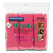 Wypall Microfiber Cloths, Reusable, 15 3/4 x 15 3/4, Red
