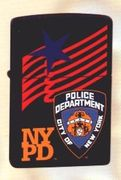 Zippo Lighter  NYPD Bagde, Star & Flag on Black Matte Finish