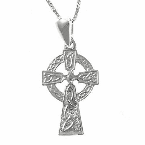 14K White Gold Celtic Cross, Medium