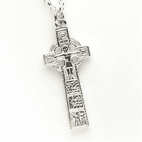 14K White Gold High Cross Of Cashel
