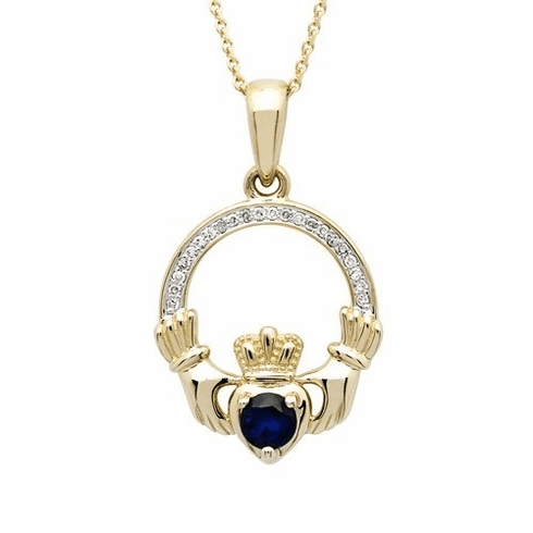 14K Yellow Gold with Sapphire and Diamond Claddagh Pendant