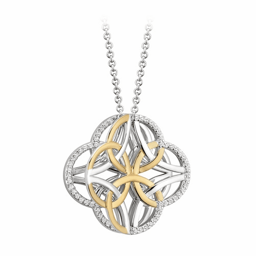 Four Trinity Knot Irish Pendant Sterling Silver and Yellow Gold
