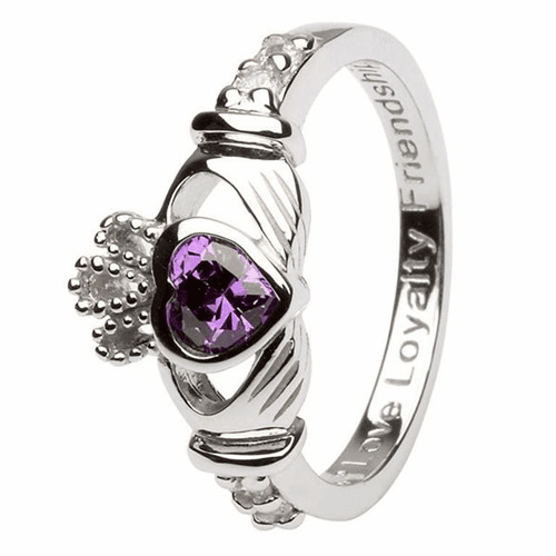 Silver Claddagh Birthstone Ring, February
